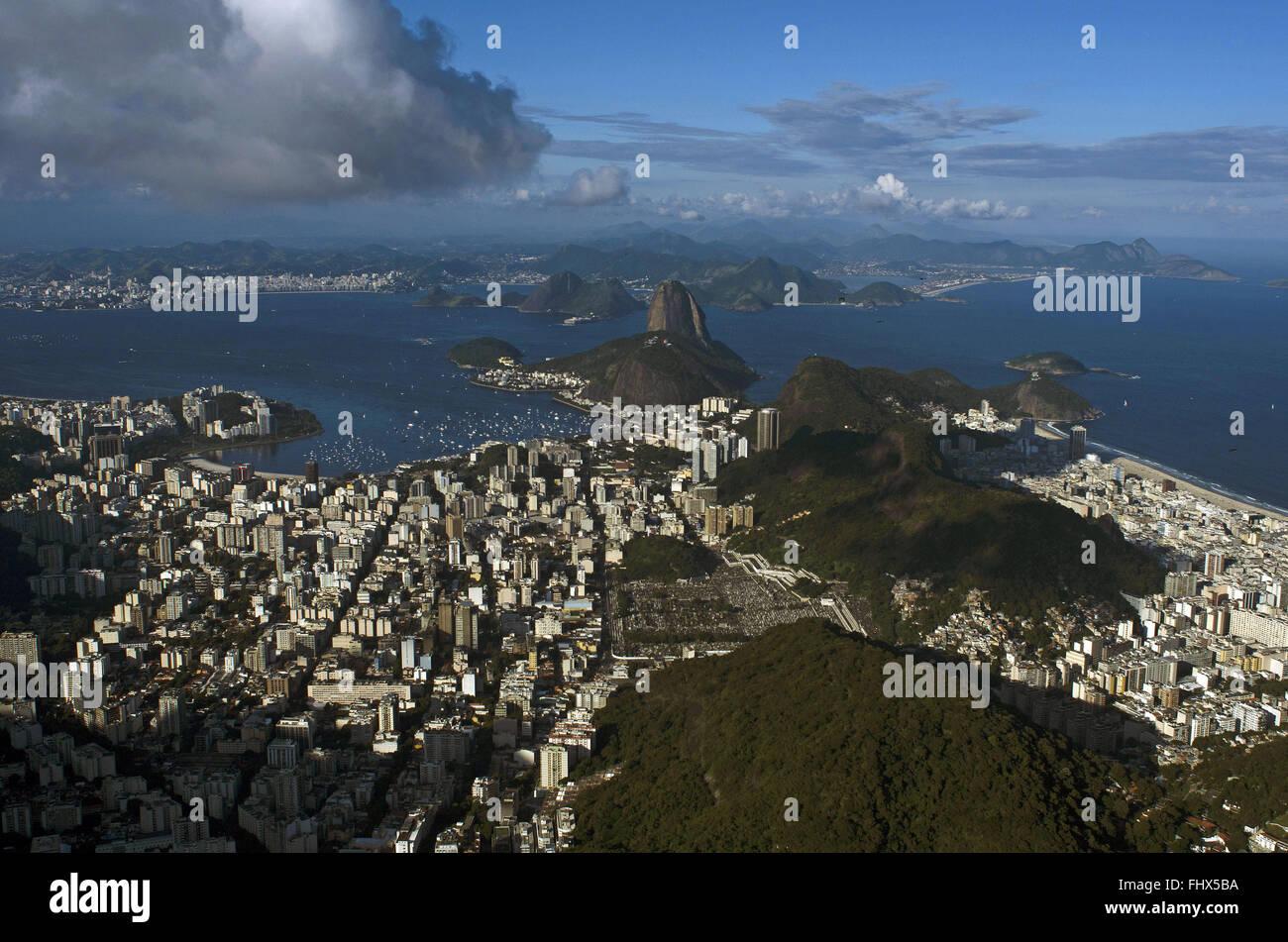 Cove of Botafogo in Guanabara Bay - Pao de Acucar and Morro da Urca Stock Photo