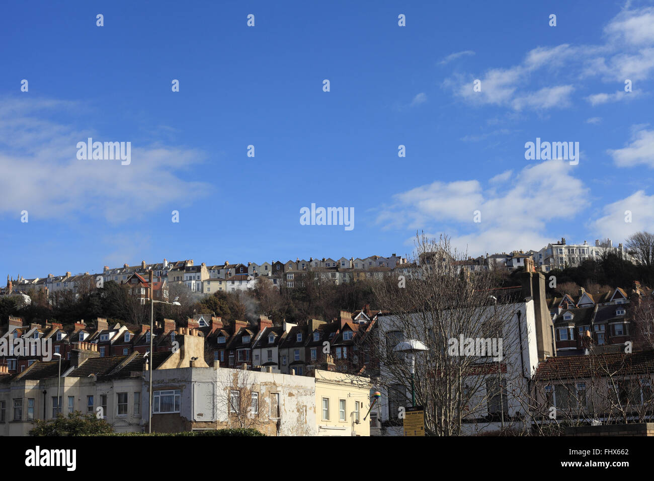 Hastings cityscape seen from Queens Road towards West Hill and Priory Road on the top, East Sussex, UK - Stock Image