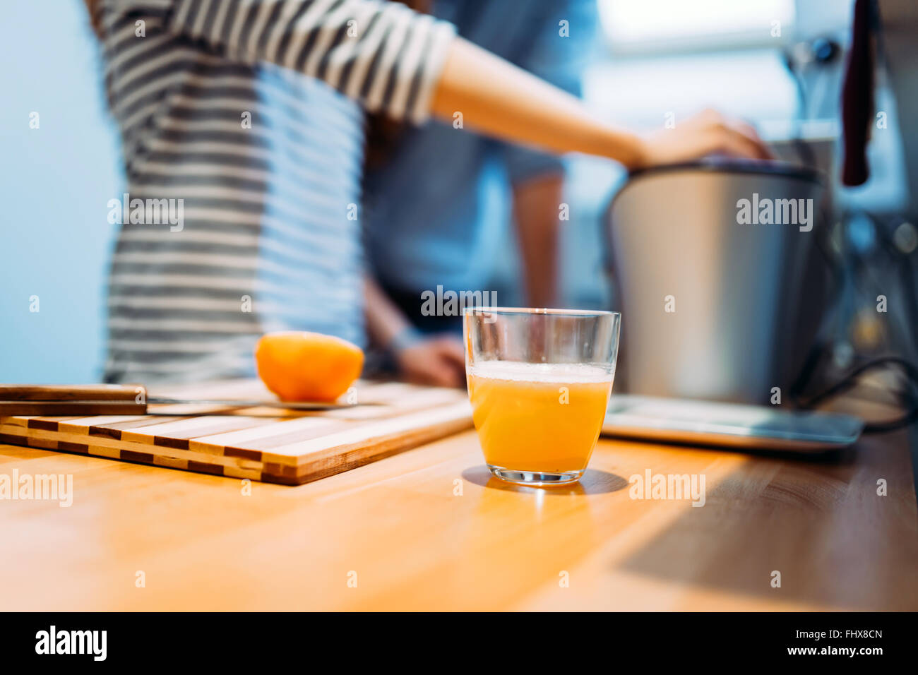 Home made orange juice from fresh organic oranges - Stock Image