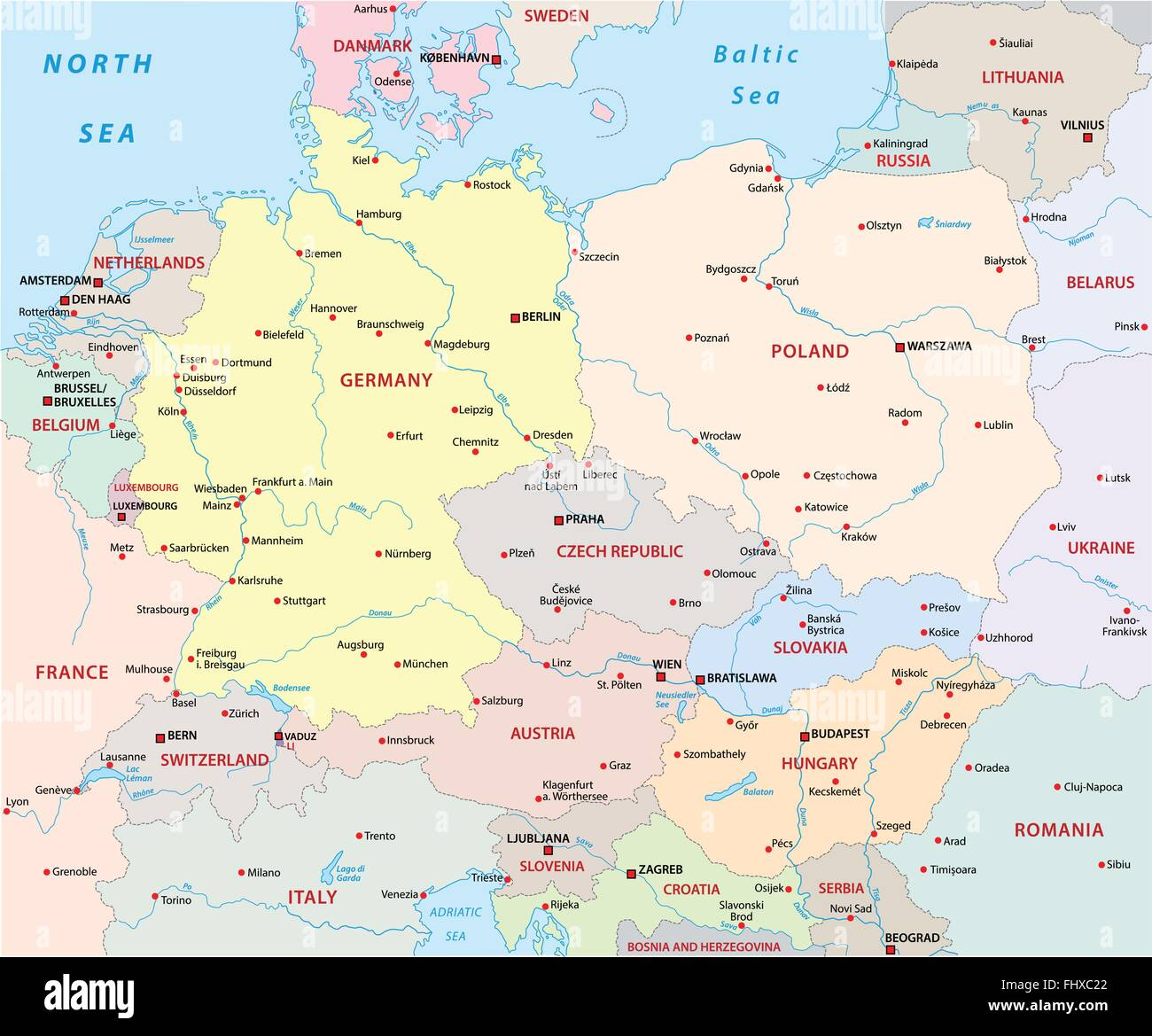 central europe map - Stock Image