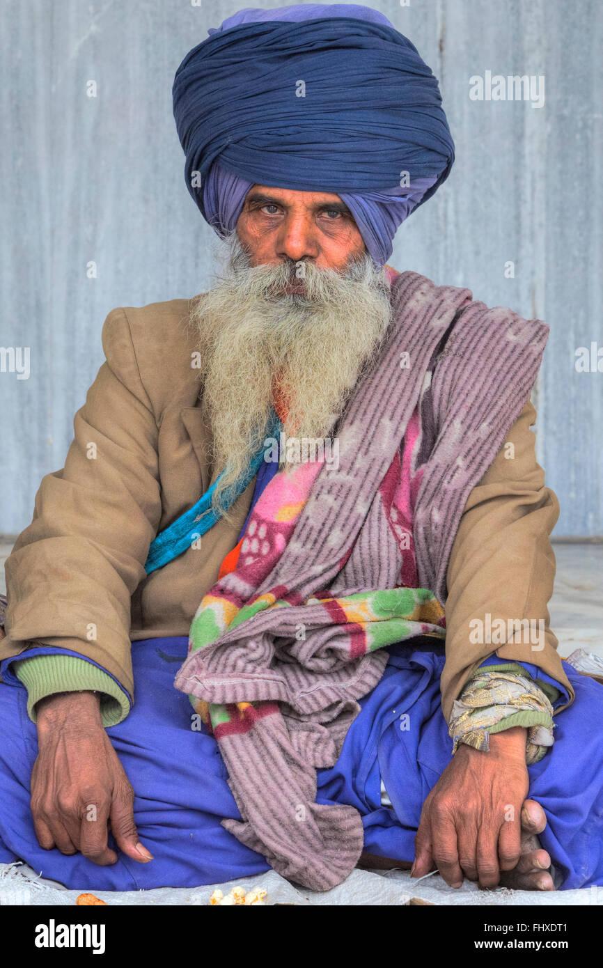sadhu in Gurudwara Bangla Sahib, Delhi, India, Asia - Stock Image