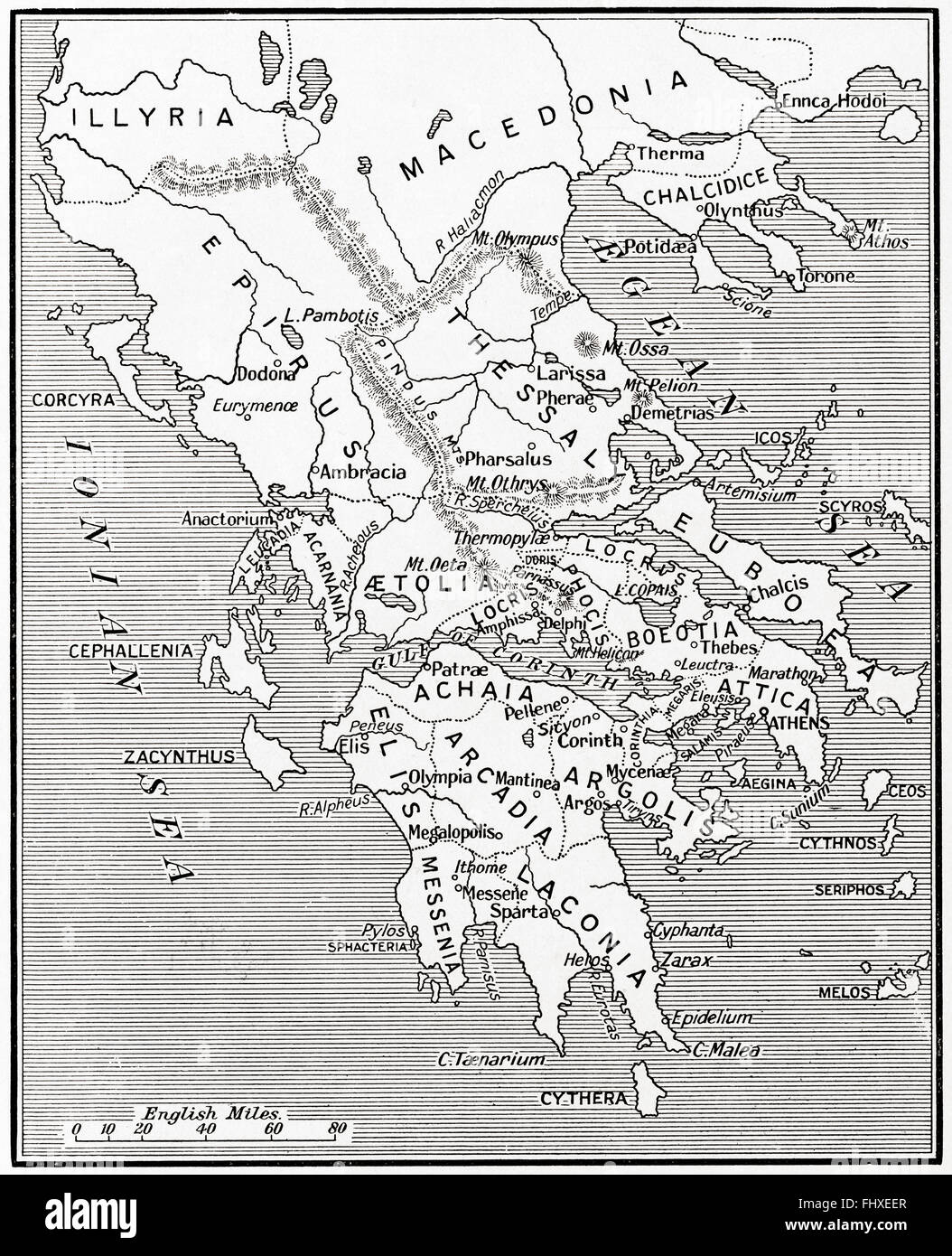 Map of Ancient Greece, 500 - 300 BC. - Stock Image