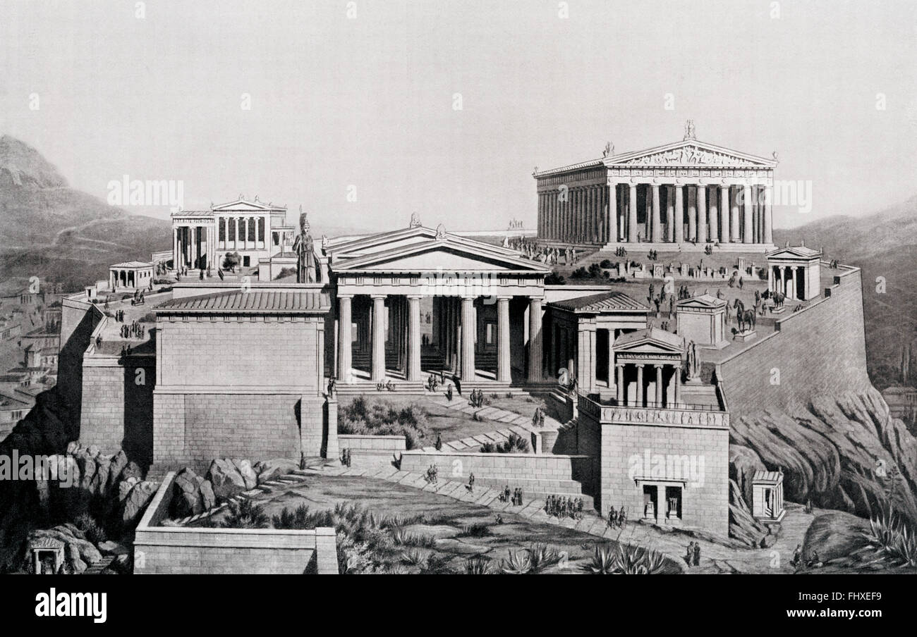 The Acropolis of Athens,Greece, c. 450 BC.  An imagined reconstruction. - Stock Image