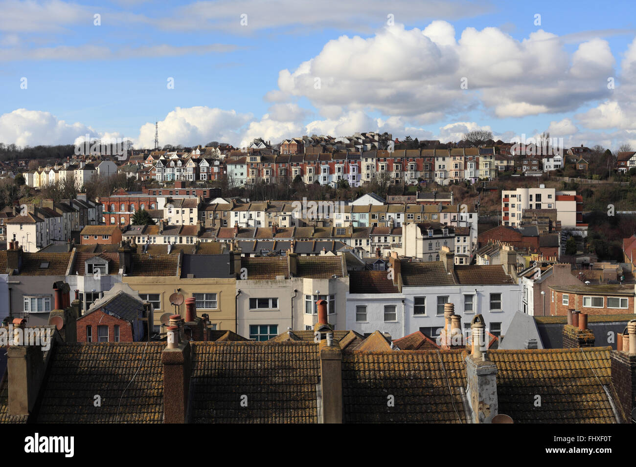 Hastings cityscape looking to the west of the town with Queens Road on the foreground, East Sussex, UK - Stock Image