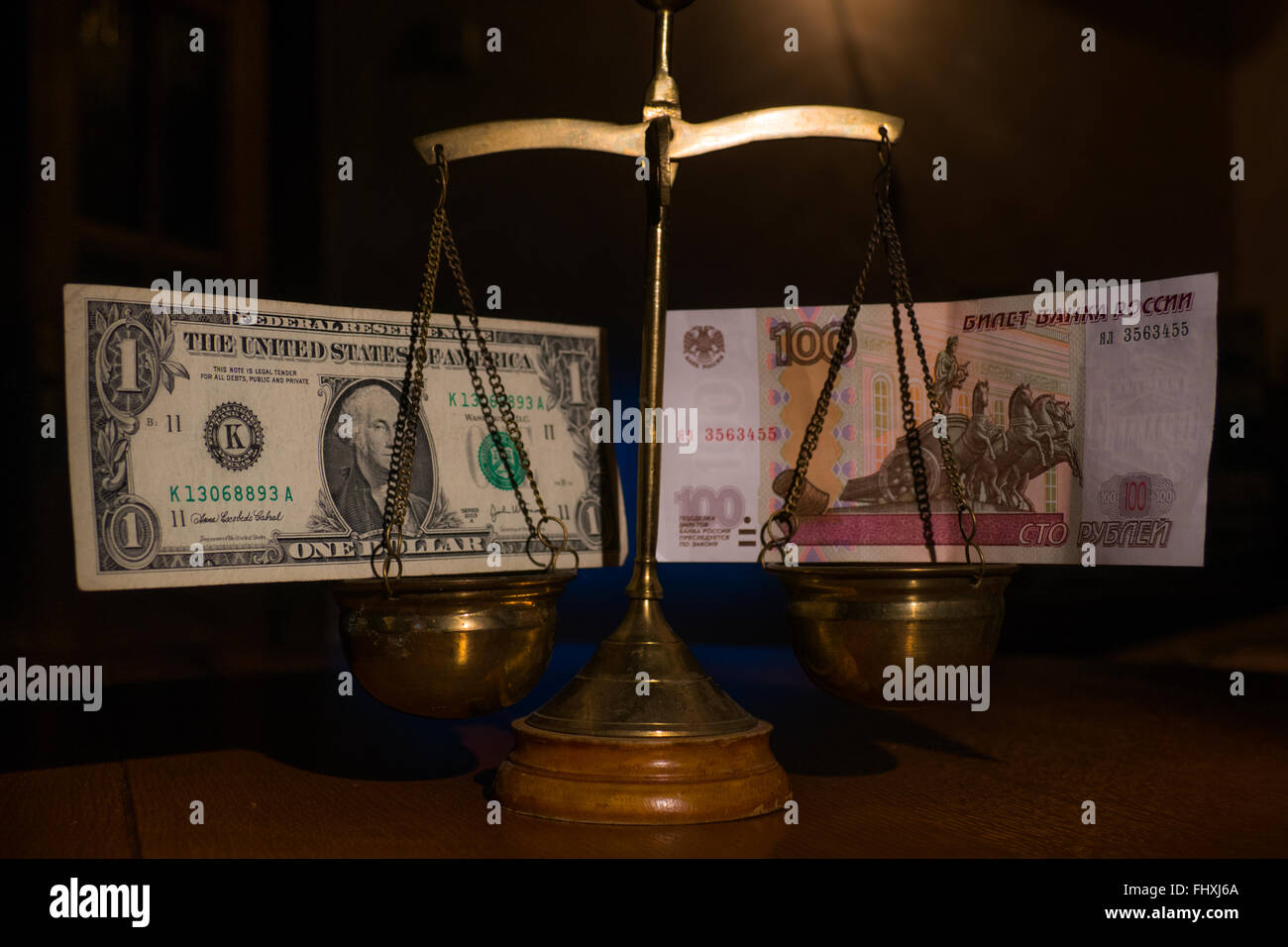 The forecast of the dollar against the ruble - Stock Image