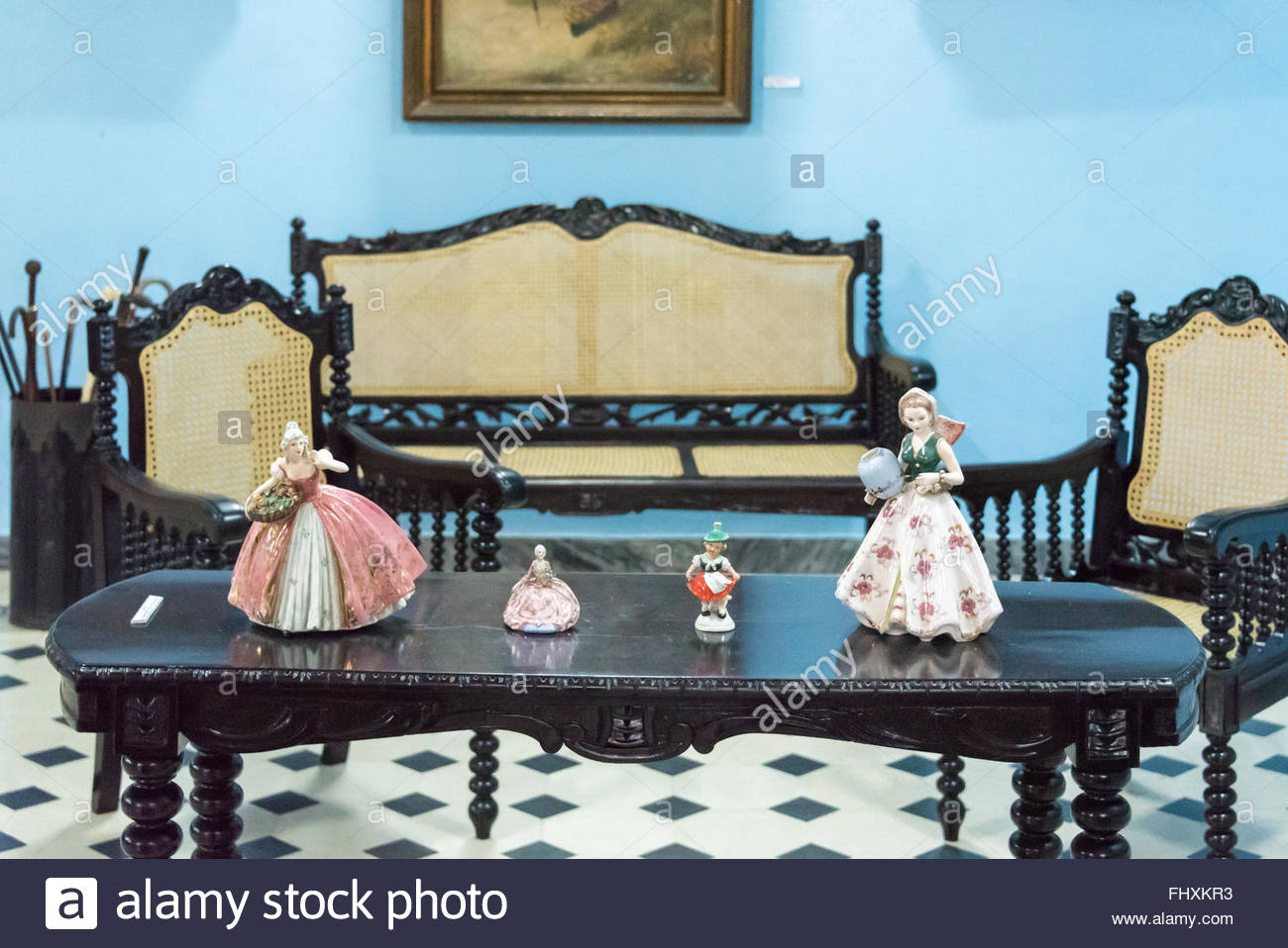 Spanish Wooden Style Furniture In Colonial House. The Luxurious Lifestyle  Of The Spanish Colonial Times In Cuba Are A Major Tourist Attraction