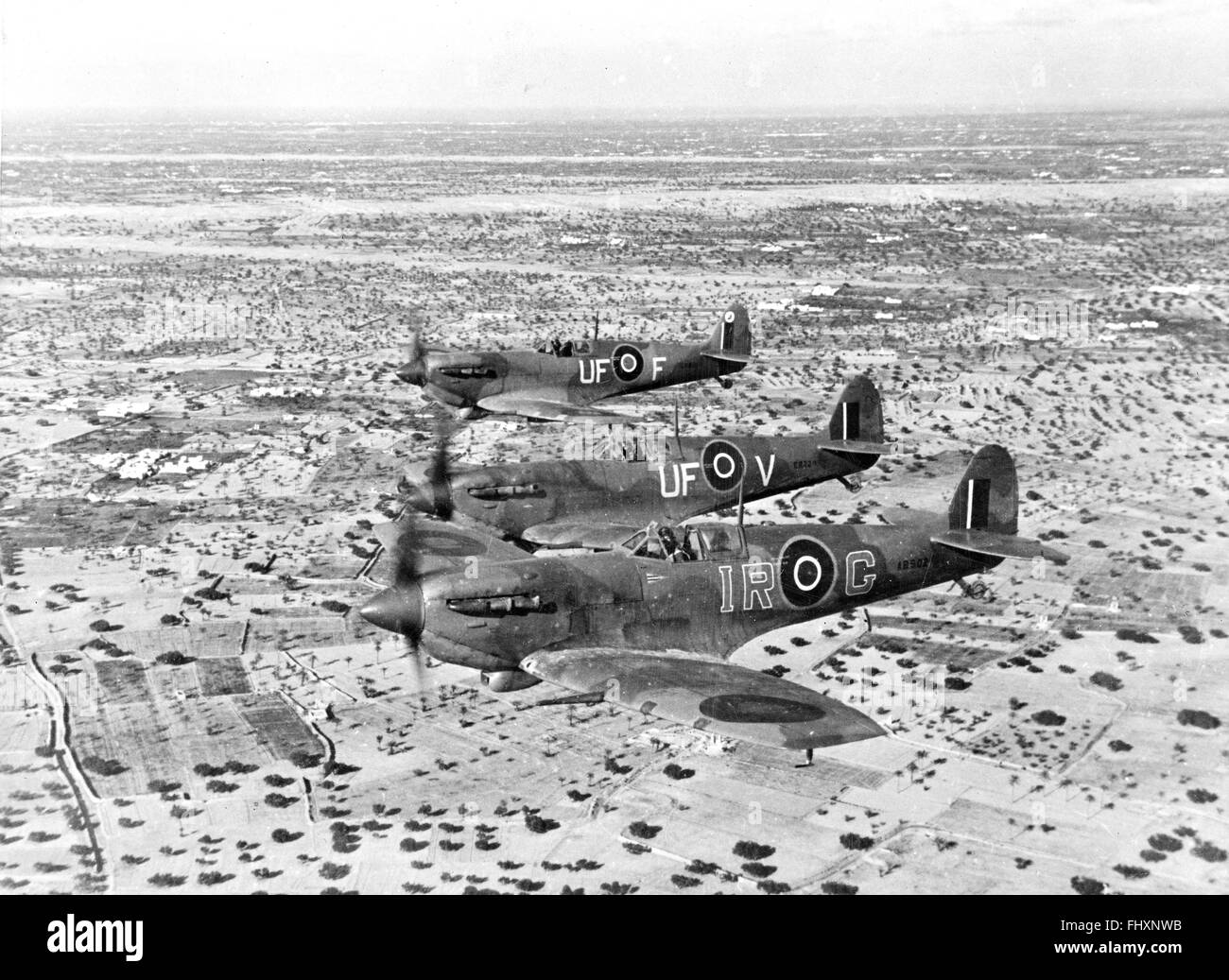 Spitfires on interception patrol over De Djerba Island, off Gabes, North Africa by Allied air forces - Stock Image