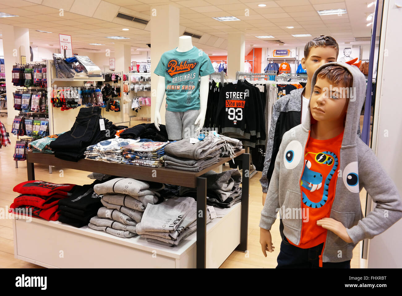 Interior of a C&A fashion store. Stock Photo