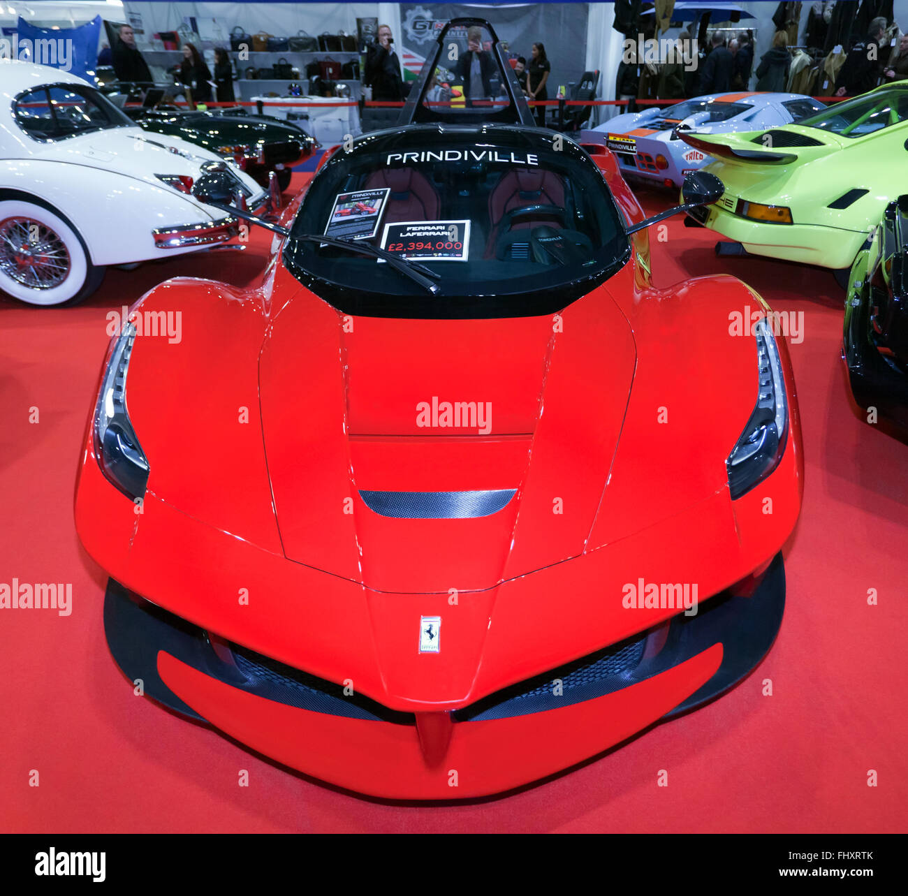 Front view of a Ferrari  LaFerrari, (F150), a limited production hybrid sports car on static display at the 2016 - Stock Image