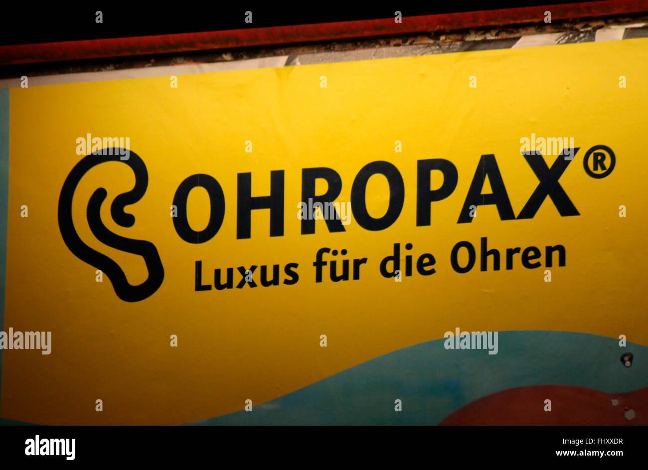 Markennamen: 'Ohropax', Berlin. - Stock Image