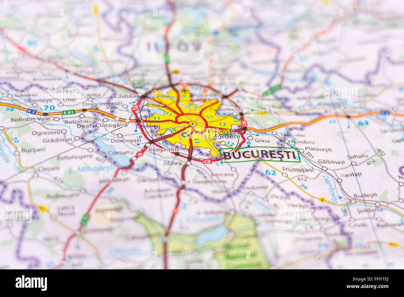 Close up of Bucharest on a map - Stock Image