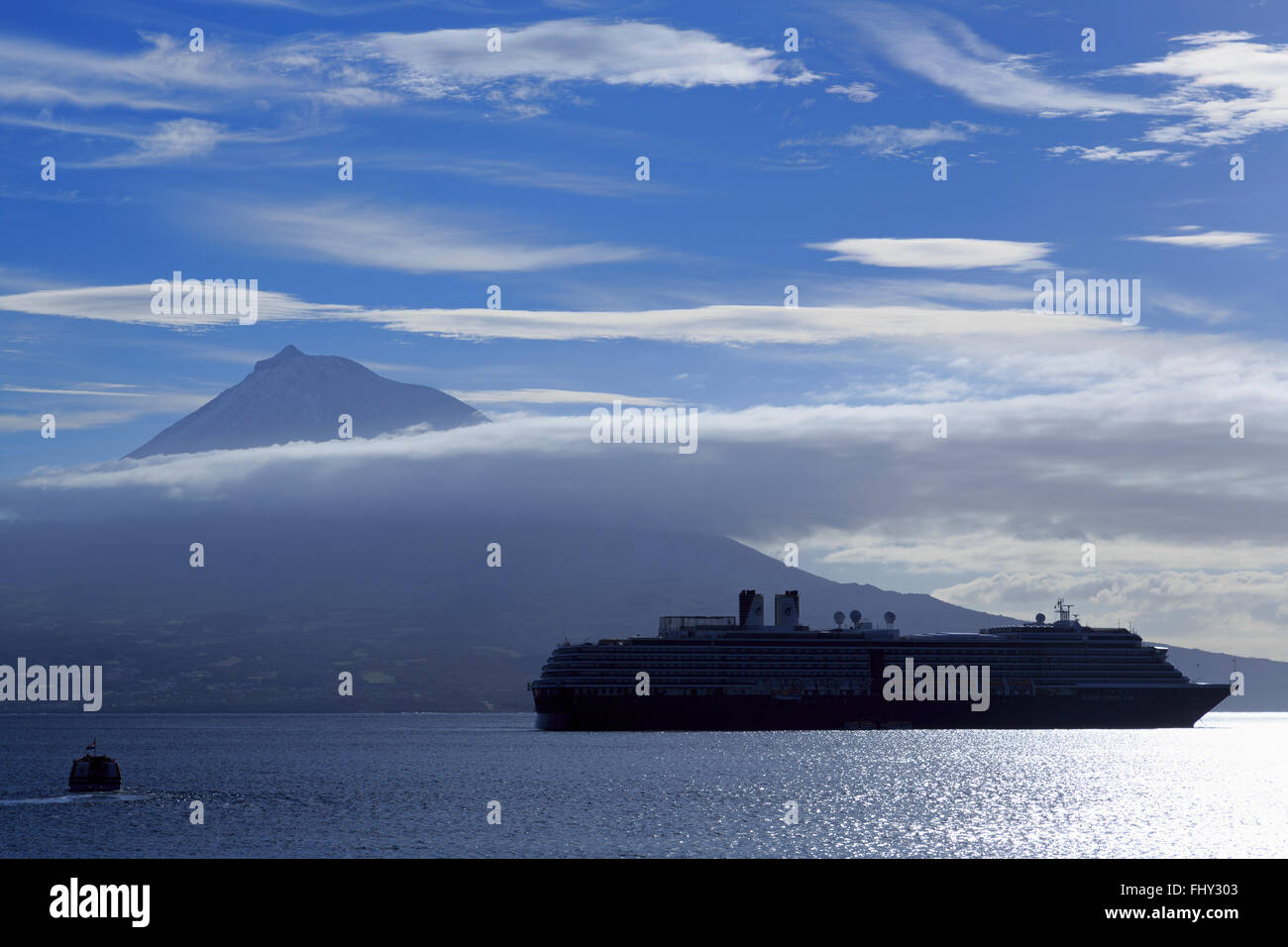 Pico Island Volcanoe & cruise ship, Horta, Faial Island, Azores, Portugal, Europe Stock Photo