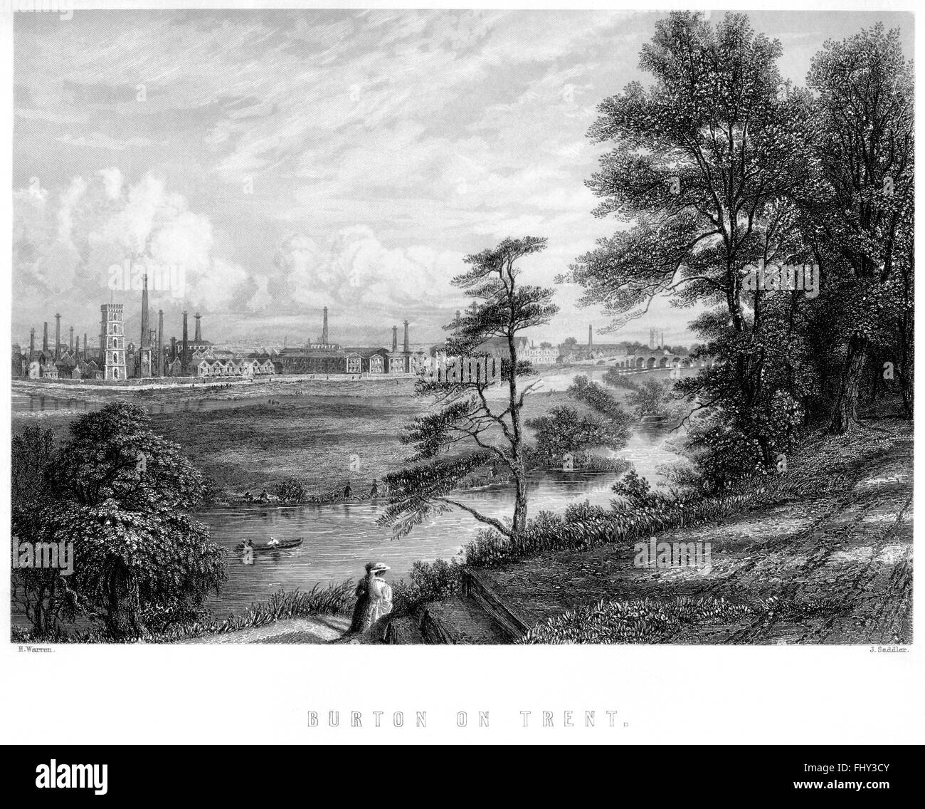 An engraving of Burton on Trent scanned at high resolution from a book printed in 1880. Believed copyright free. Stock Photo