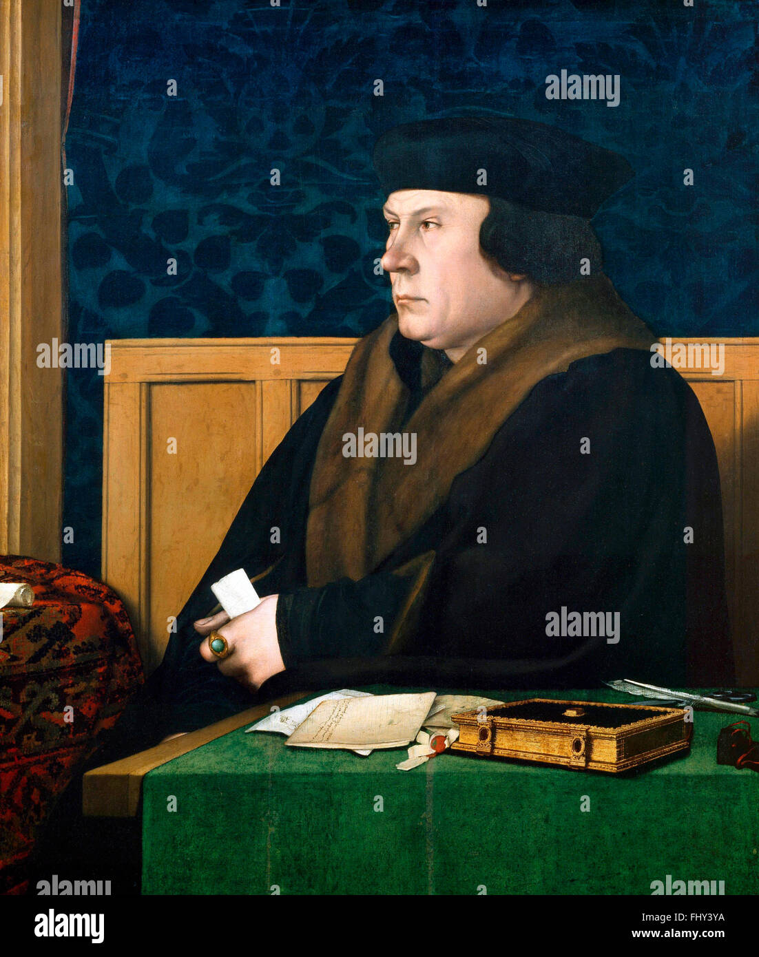 Thomas Cromwell. Portrait of Sir Thomas Cromwell by Hans Holbein the Younger, 1532 - Stock Image