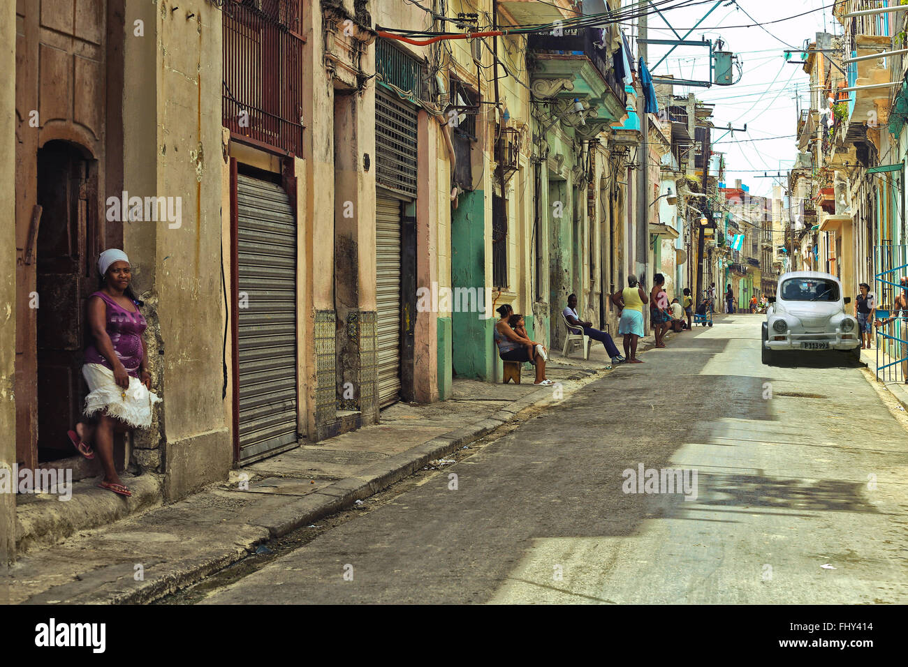 Colonial Houses And Streets In Old Havana Cuba Photo Vintage Style