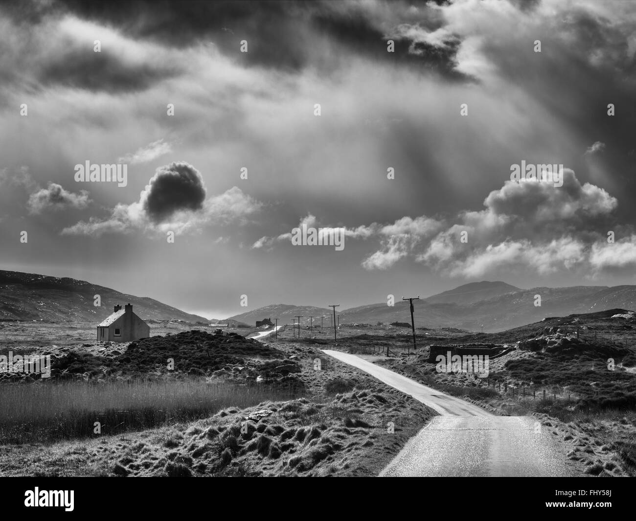 Passing Squall on the road to Loch Aineort - Stock Image