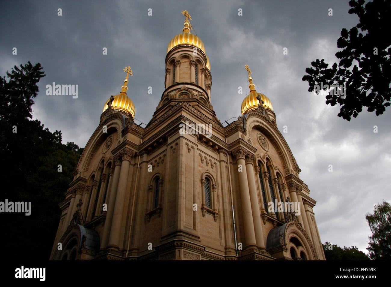 russisch-orthodoxe Kirche, Neroberg, Wiesbaden. - Stock Image