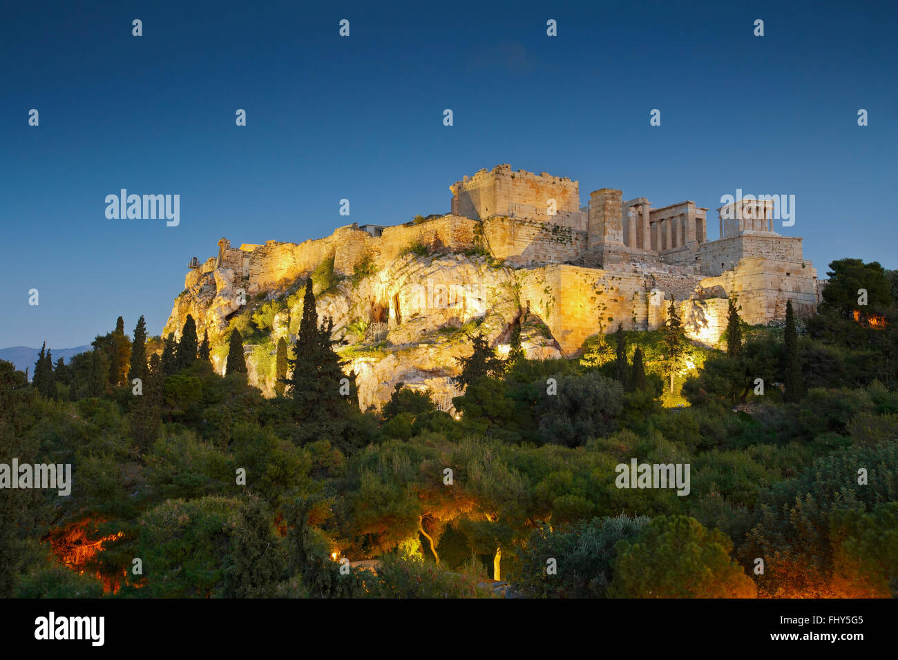 View of Acropolis from Areopagus hill. - Stock Image