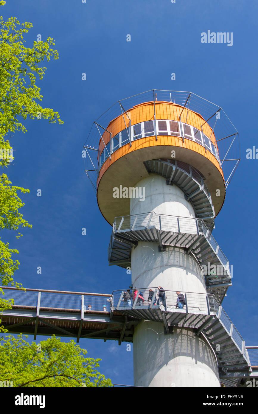 Tower of the tree-top trail / Turm des Baumkronenpfades / Baumwipfelpfad at the Hainich National Park, Thüringen, Stock Photo