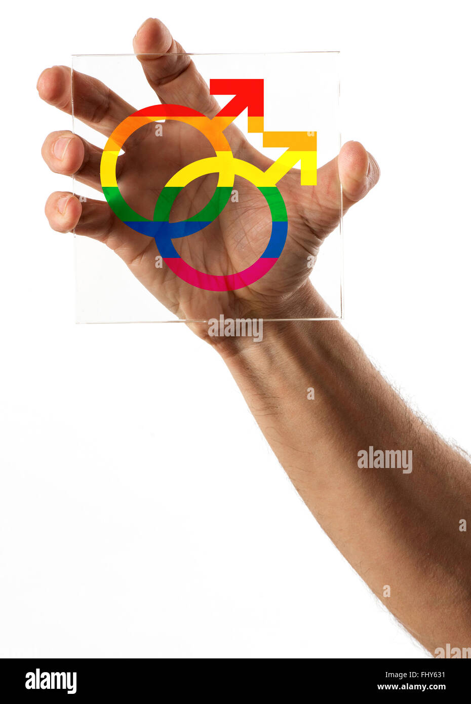 Single human hand gripping a square piece of glass with gay marriage symbols in the middle on isolated background - Stock Image