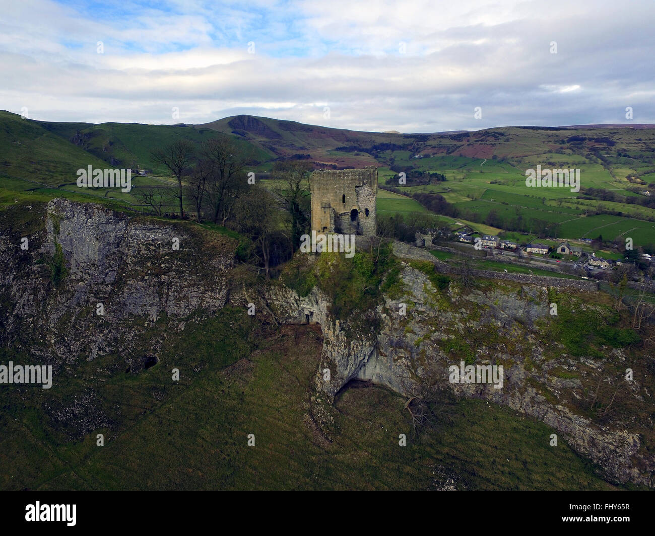 Castleton Peveril Castle Peak District Derbyshire - Stock Image