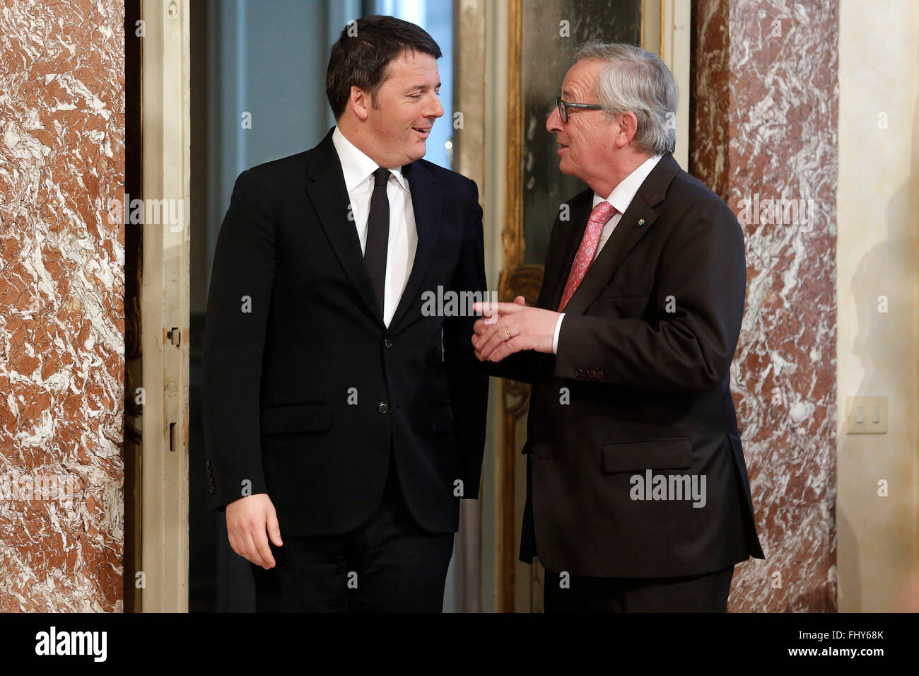 Matteo Renzi and Jean-Claude Junker Rome 26th February 2016. Italian Premier meets the President of the EU Commission. - Stock Image