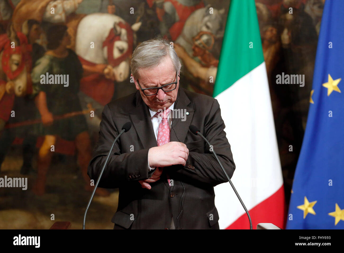 Jean-Claude Junker Rome 26th February 2016. Italian Premier meets the President of the EU Commission. Photo Samantha - Stock Image