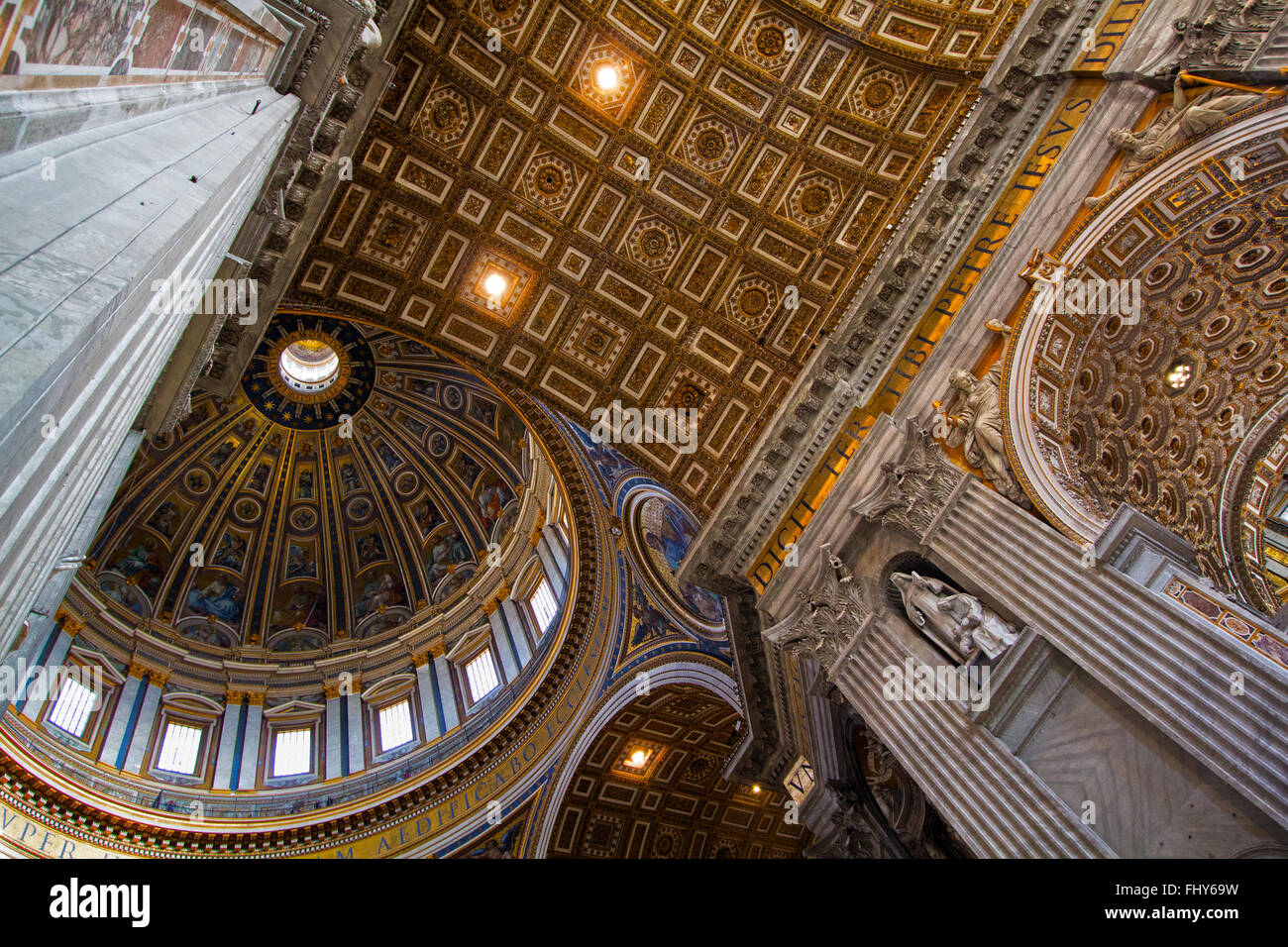 Inside St Peters Basilica Church, Rome, Italy - Stock Image
