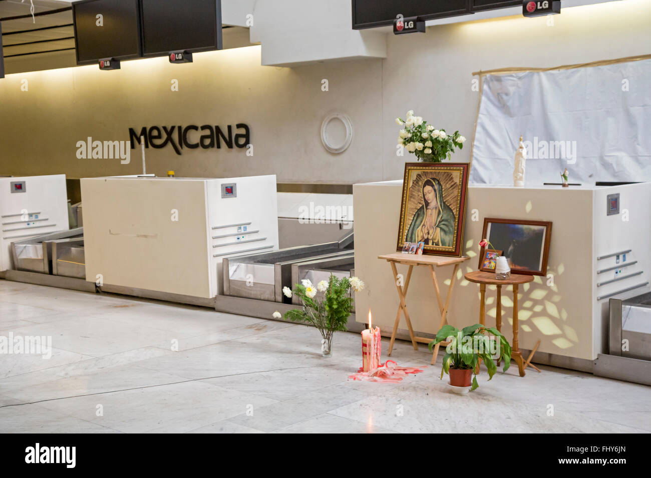 Mexico City, D.F., Mexico - Shrine at airport protests allegedly fraudulent Mexicana Airlines bankruptcy. - Stock Image