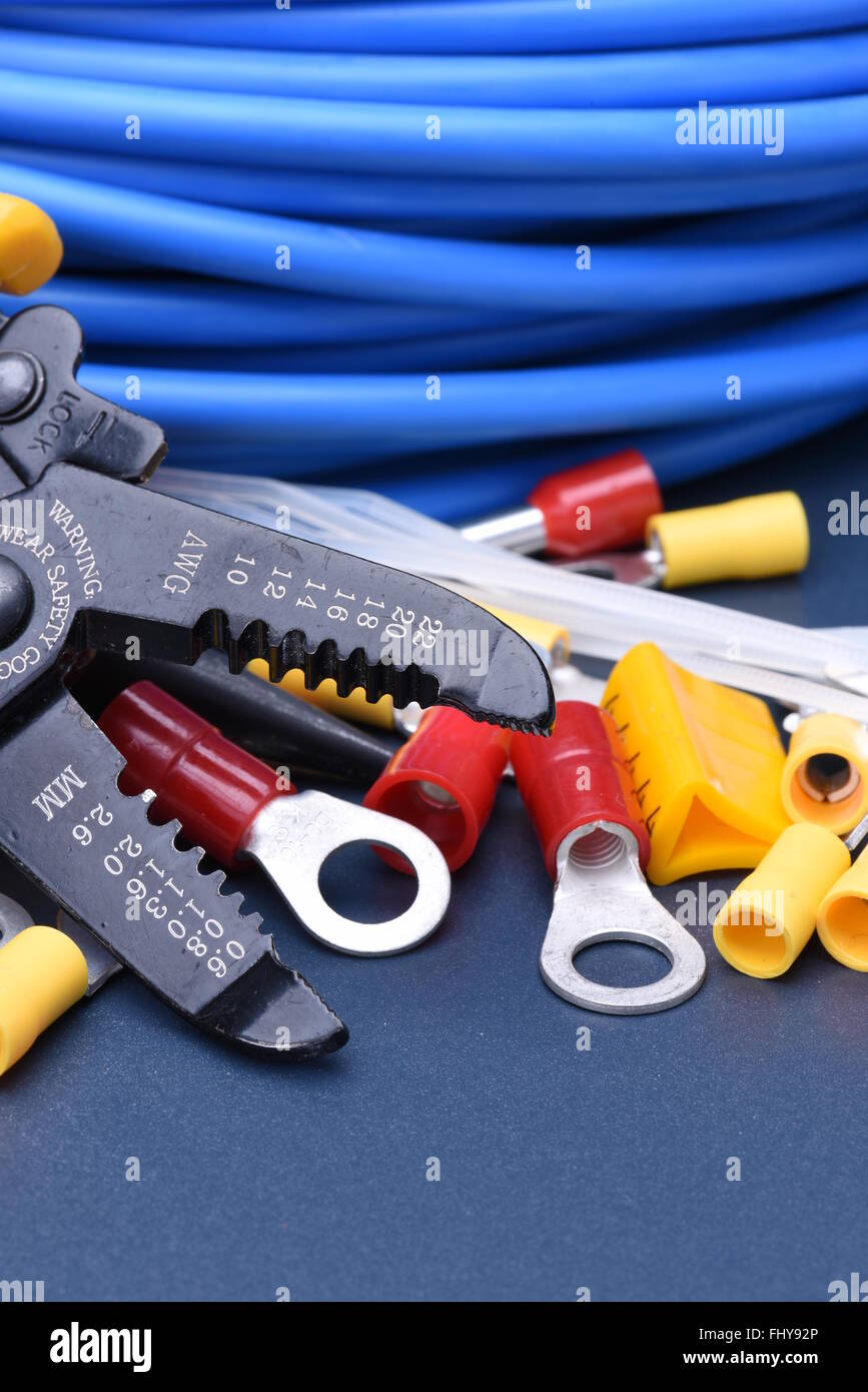 Wire Stripper Cutter Electrician Tool Stock Photos Cable Wiring Tools For And Cables On Metal Surface Image