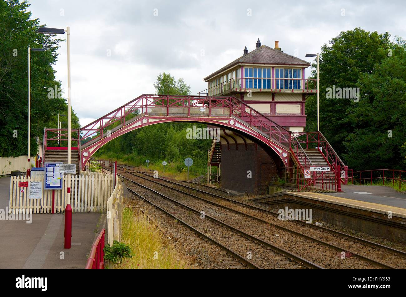 Haltwhistle Railway Station. Bridge and Signal box. Haltwhistle, Tyne Valley Line, Northumberland, England, United - Stock Image