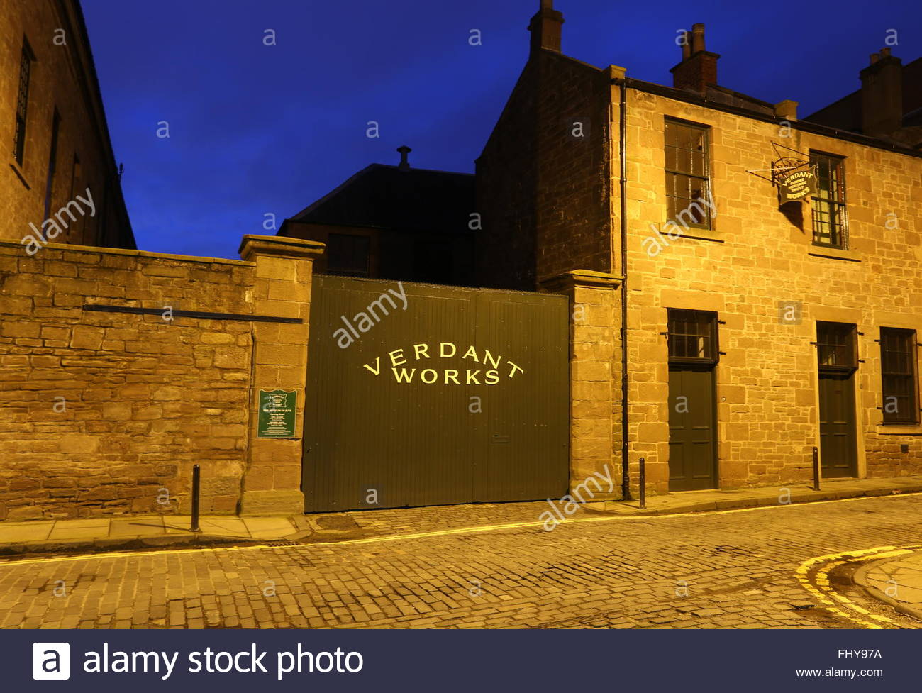 Exterior of Verdant Works Jute Mill Museum at night Dundee Scotland  December 2015 - Stock Image
