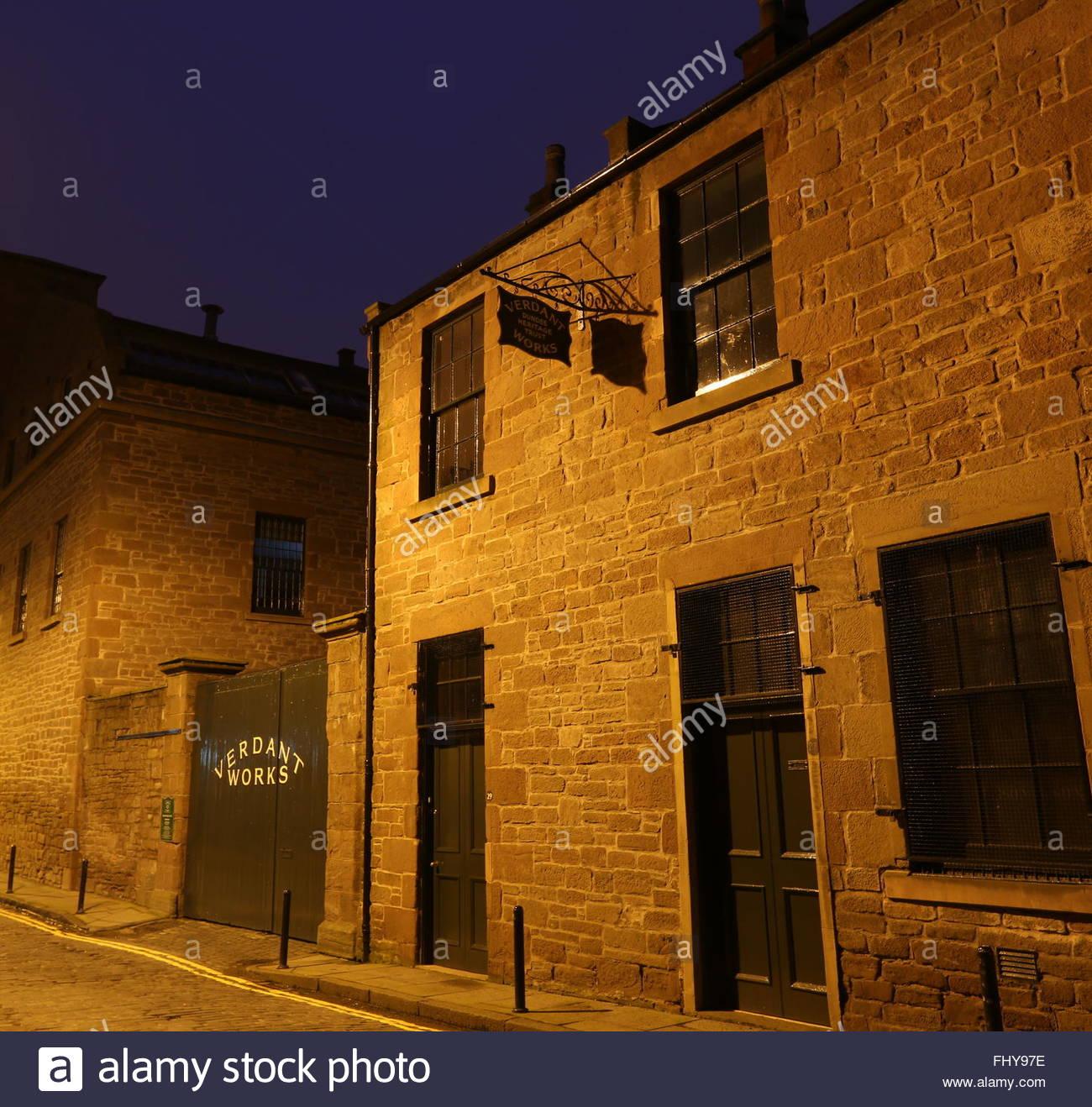 Exterior of Verdant Works Jute Mill Museum at night Dundee Scotland  December 2015 - Stock Image