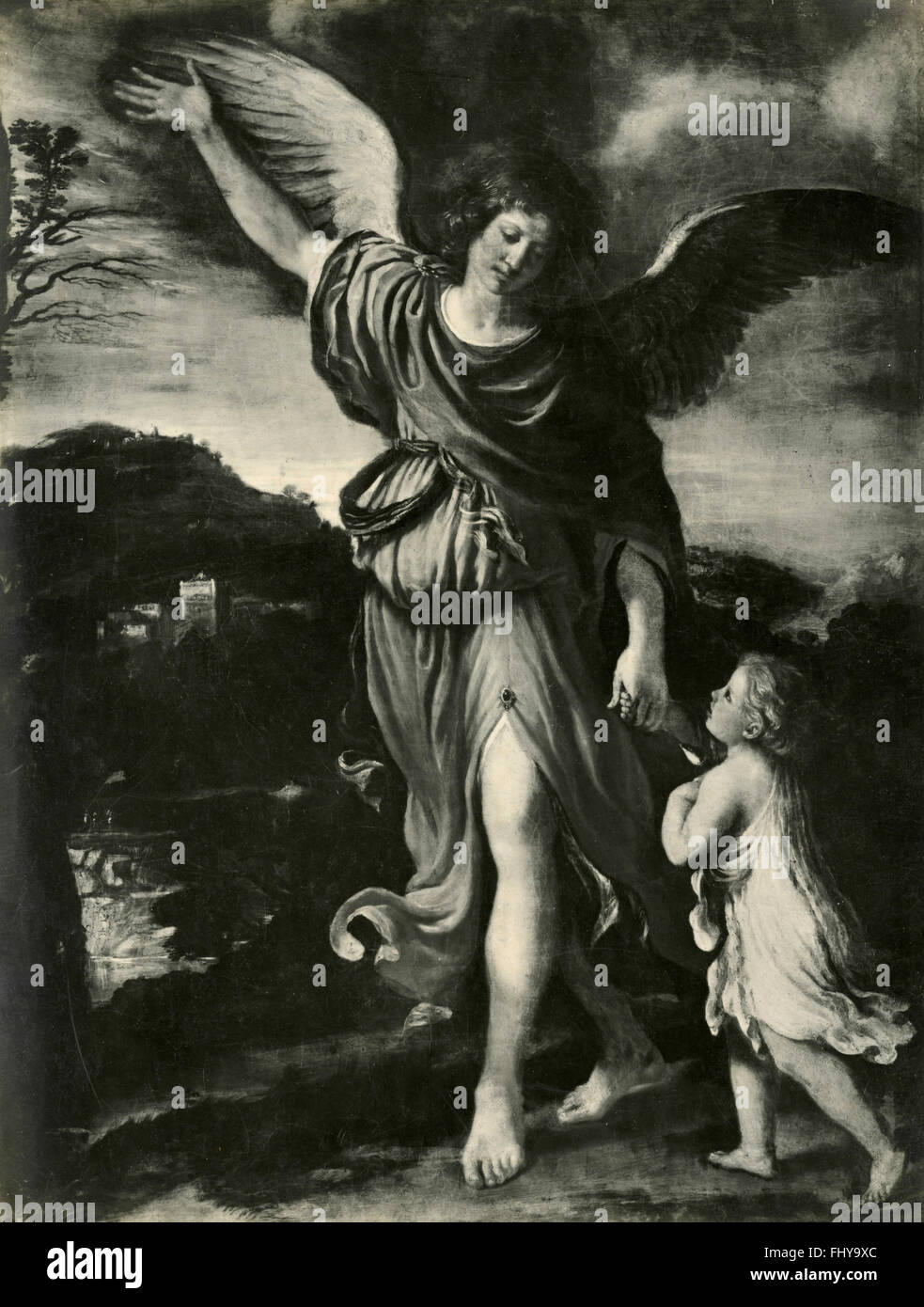 Archangel and Tobias, painting by Guercino - Stock Image