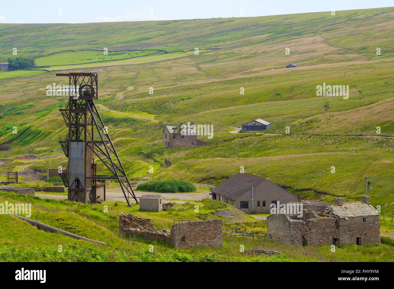 Disused Pithead of Grove Rake Mine buildings, Rookhope District, Weardale, North Pennines, County Durham, England, - Stock Image