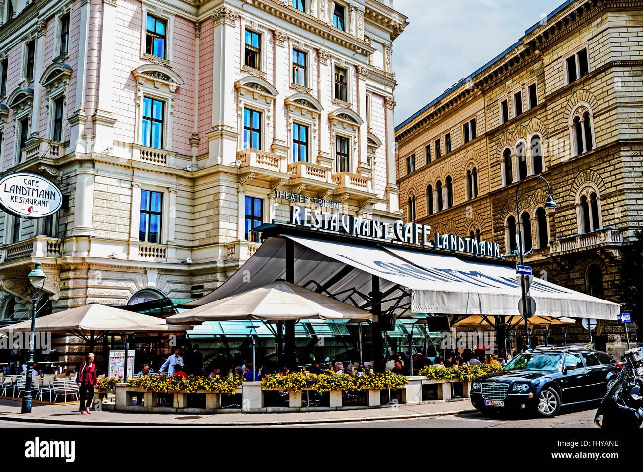Vienna, café Landtmann, near the Burgtheater an der Ringstraße - Stock Image