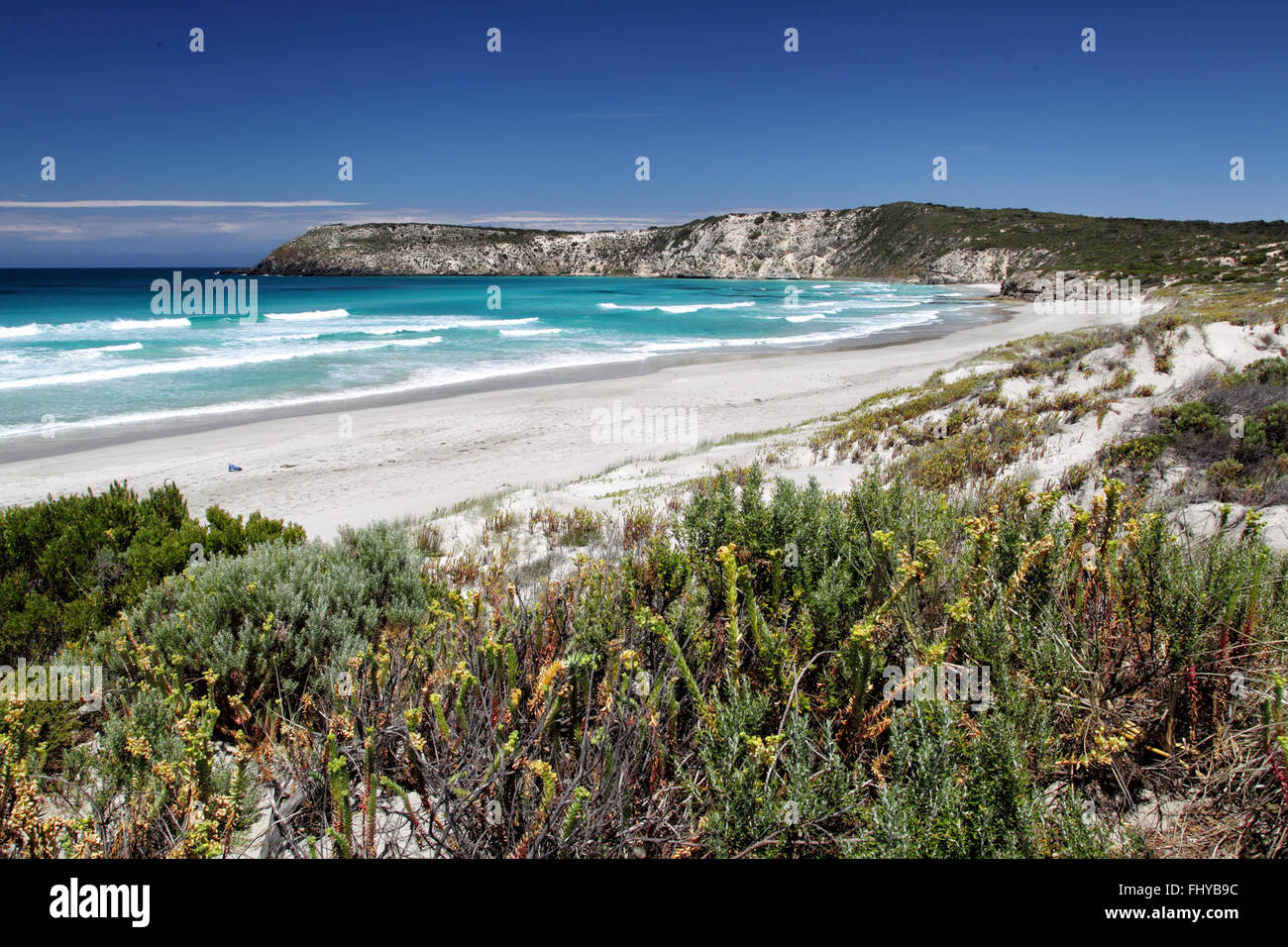Coastal landscape in Pennington Bay on Kangaroo Island, South Australia, Australia. Stock Photo