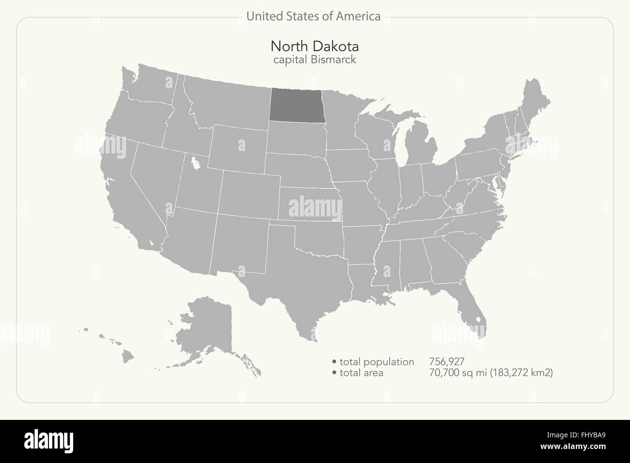 United States of America isolated map and North Dakota State Stock ...