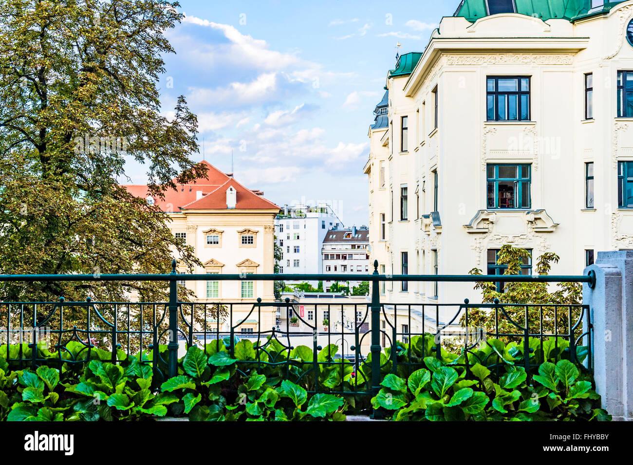 Strudlhofstiege in Wien, Alsergrund, Motiv des Romans von Heimito von Doderer; staircase in Vienna, background of an novel Stock Photo