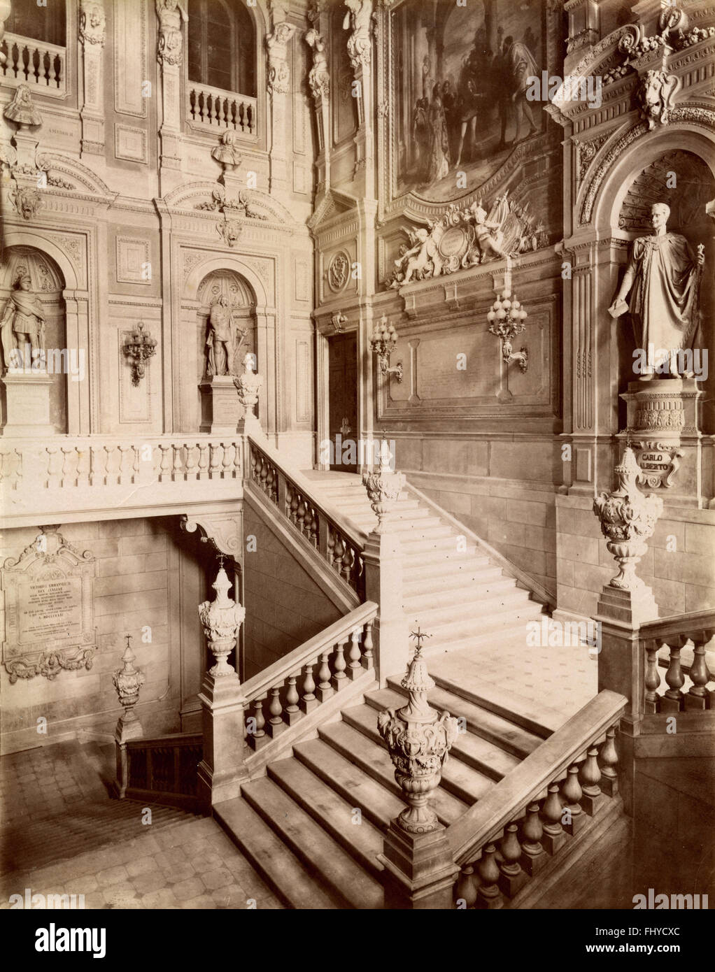Staircase of honor, the Royal Palace, Turin, Italy - Stock Image