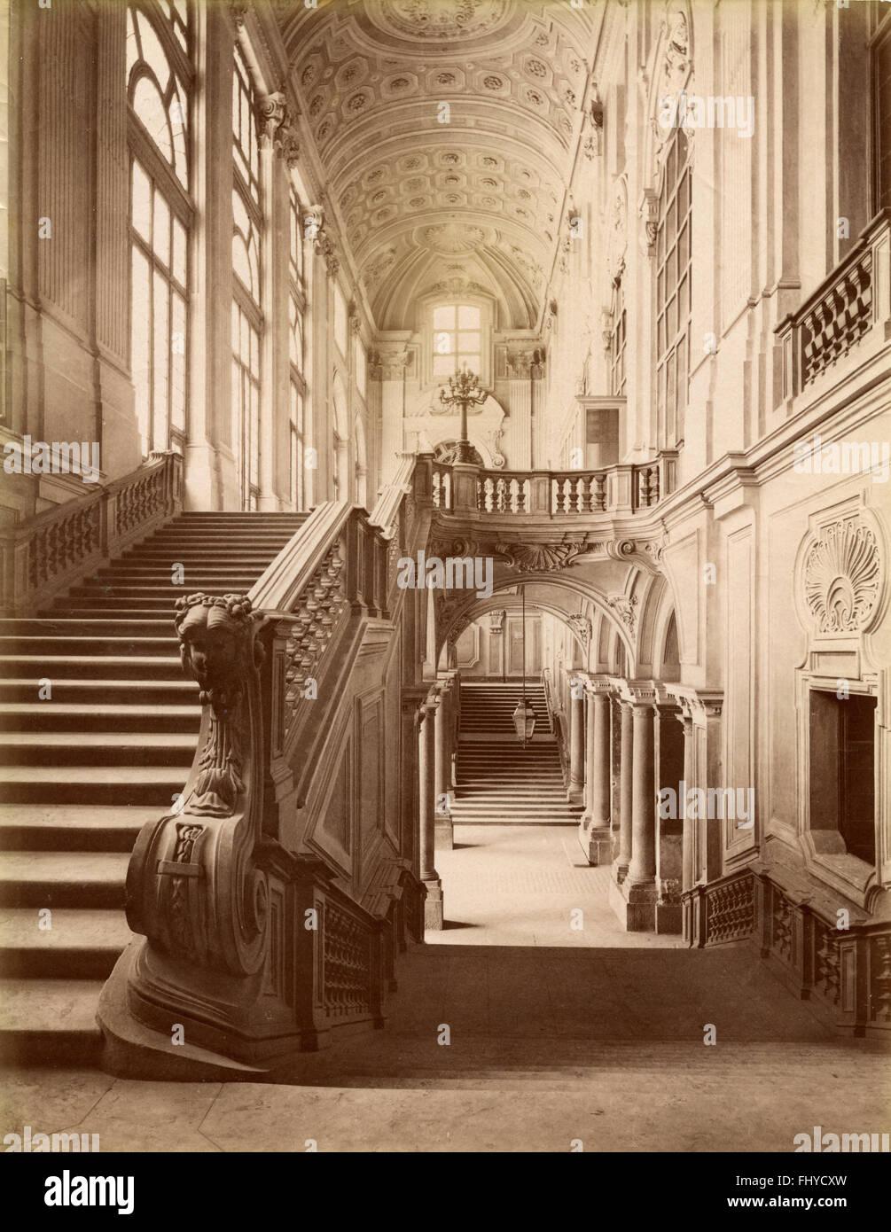 Staircase of honor, Palazzo Madama, Turin, Italy - Stock Image