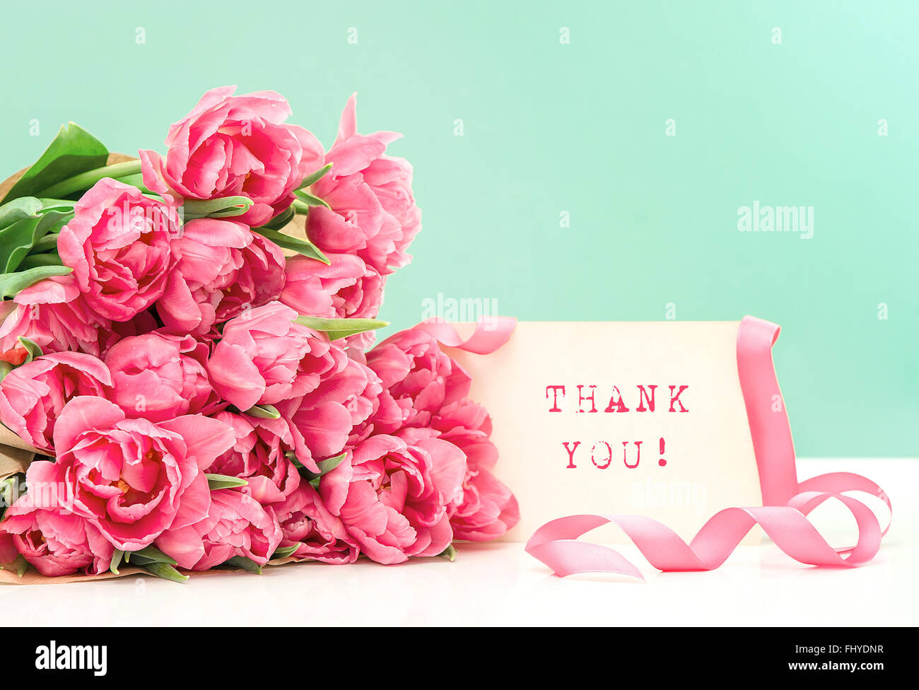 Pink tulips and card sample text thank you postcard concept pink tulips and card sample text thank you postcard concept picture with oil painting effect altavistaventures Image collections