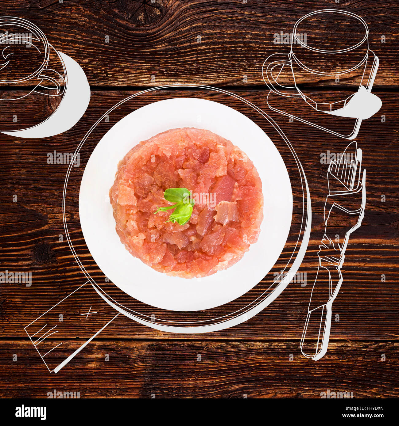 Delicious salmon tartare. Fine dining, exquisite luxurious gastronomy background. - Stock Image
