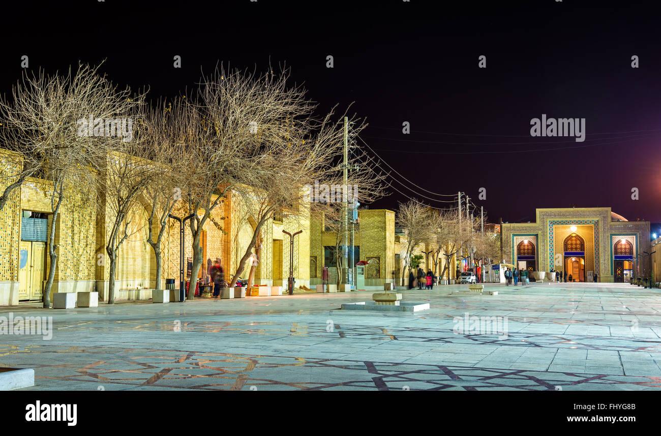 Ahmadi street in Shiraz at night, Iran - Stock Image