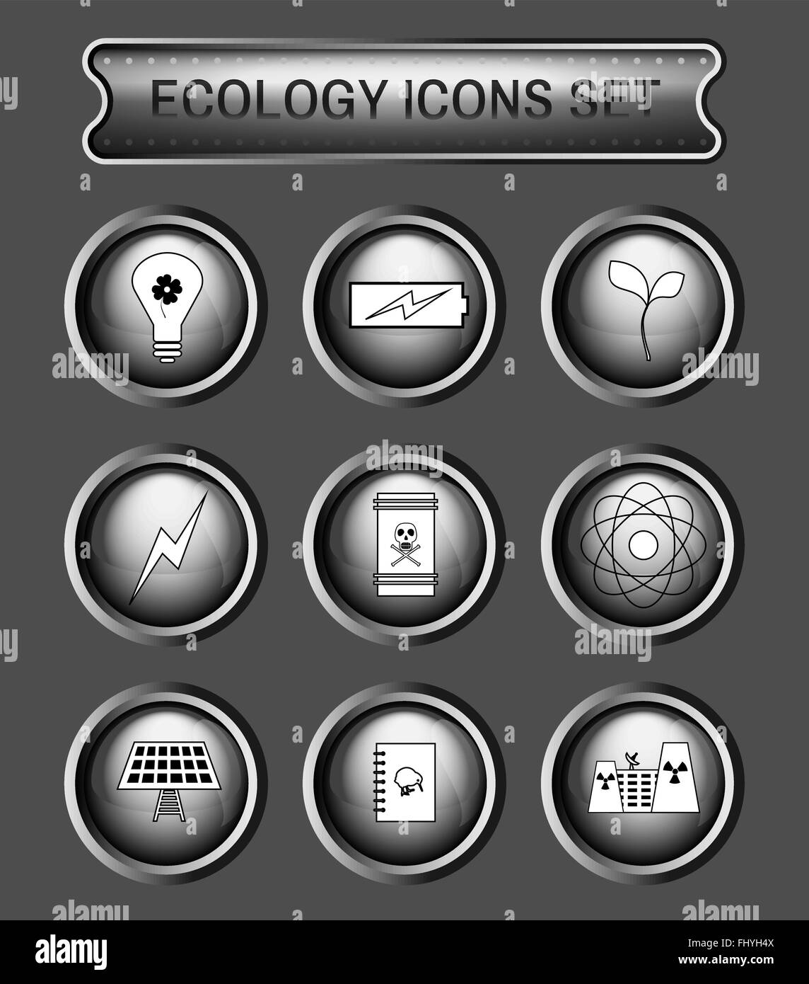 Ecology Icons Set on Gray Round Buttons. Digital background vector logotypes set. - Stock Image