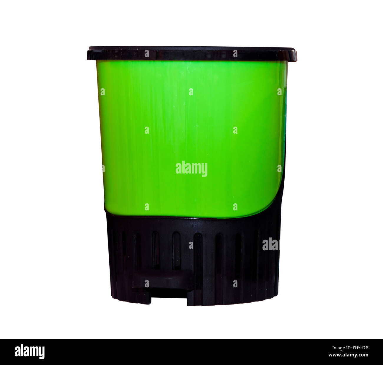 Green plastic trash can isolated - Stock Image