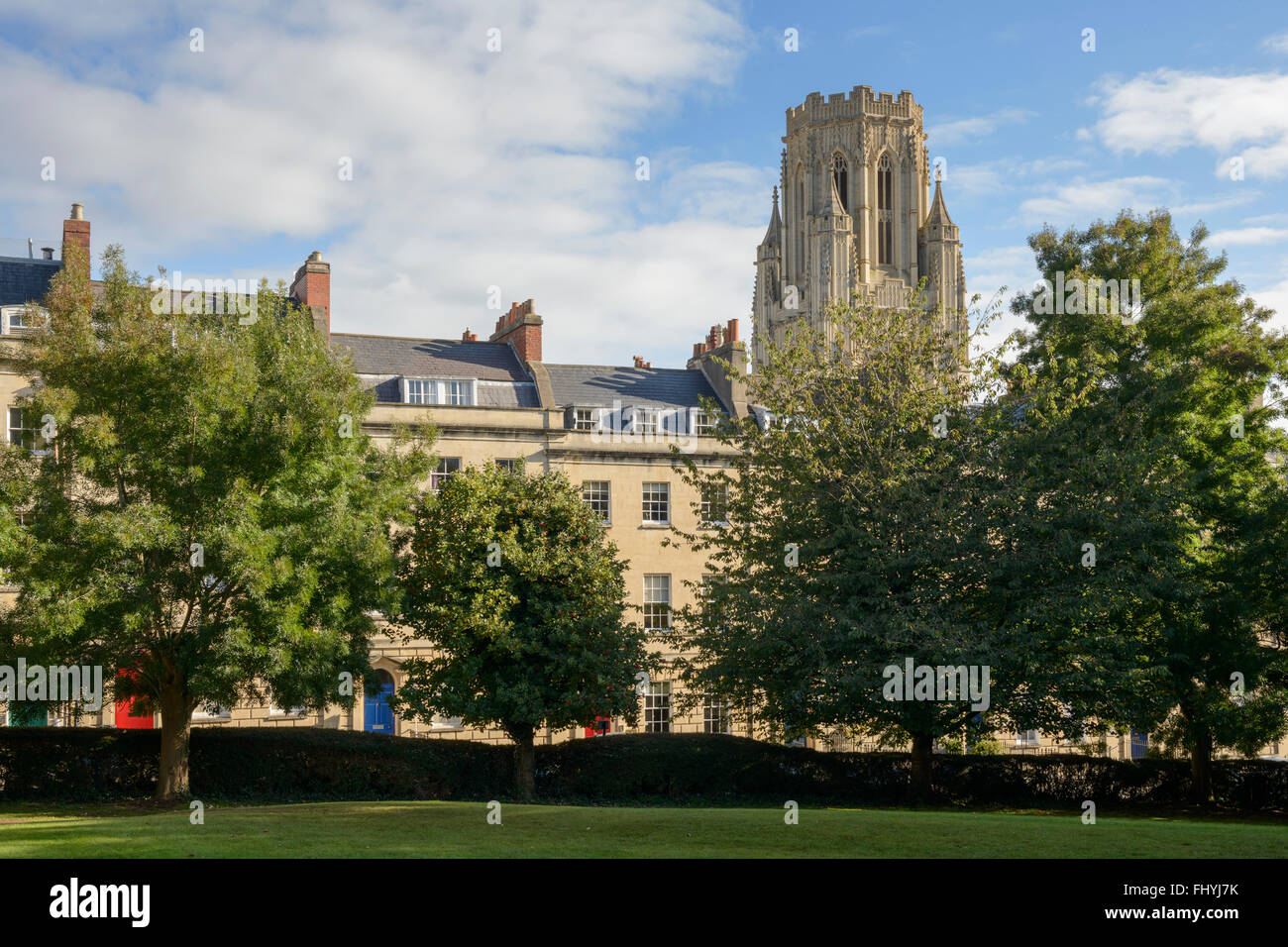 A view of the Wills Memorial Building from Berkeley Square in Bristol. - Stock Image