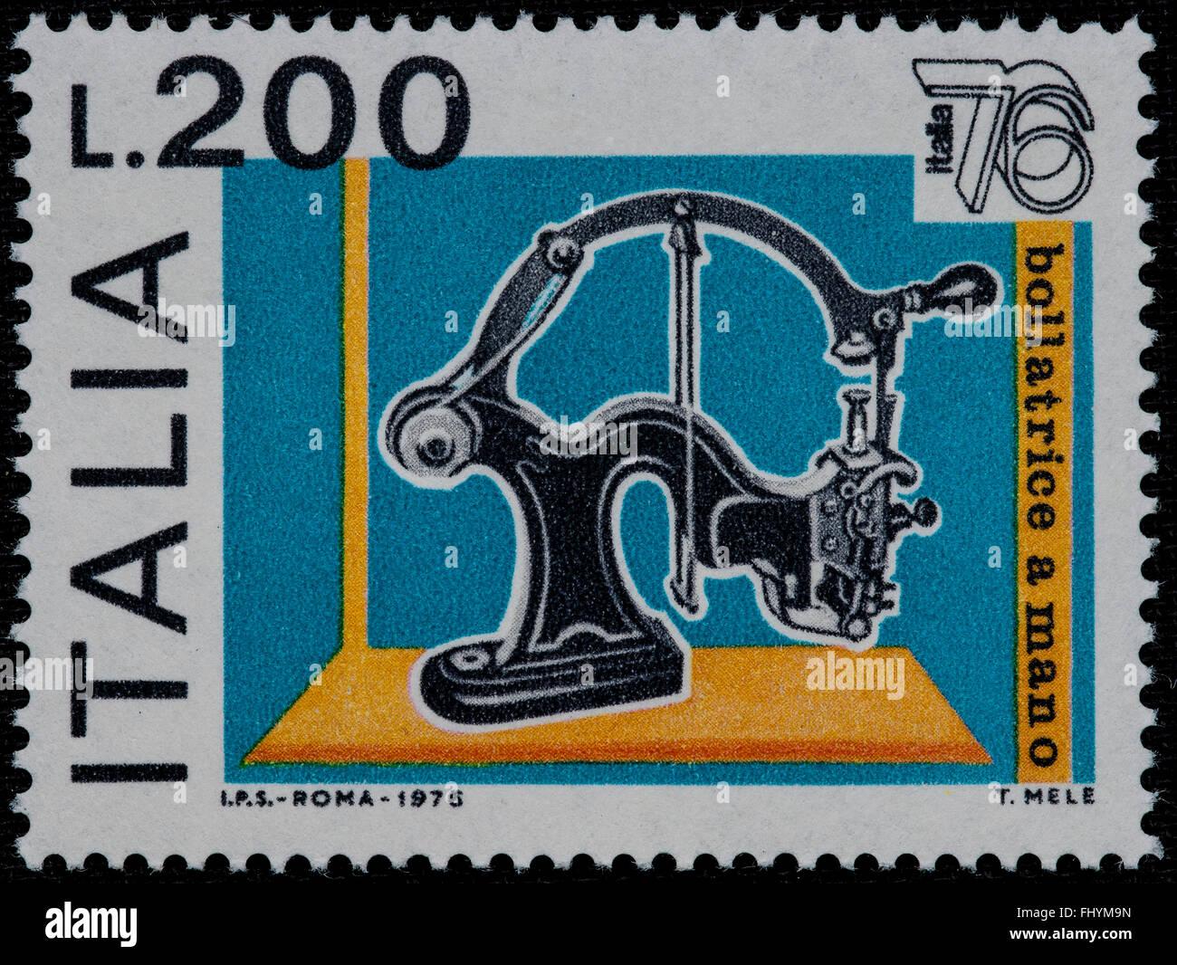 1976 Italian mint stamp issued to celebrate Italia 76 philatelic expo Lire 200 - Stock Image
