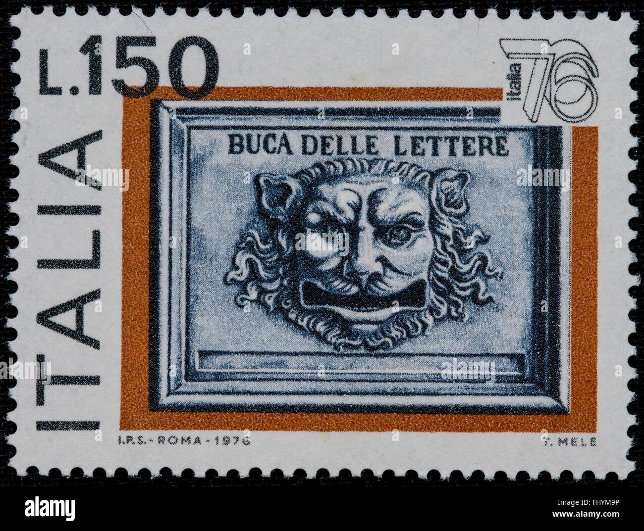1976 Italian mint stamp issued to celebrate Italia 76 philatelic expo Lire 150 - Stock Image