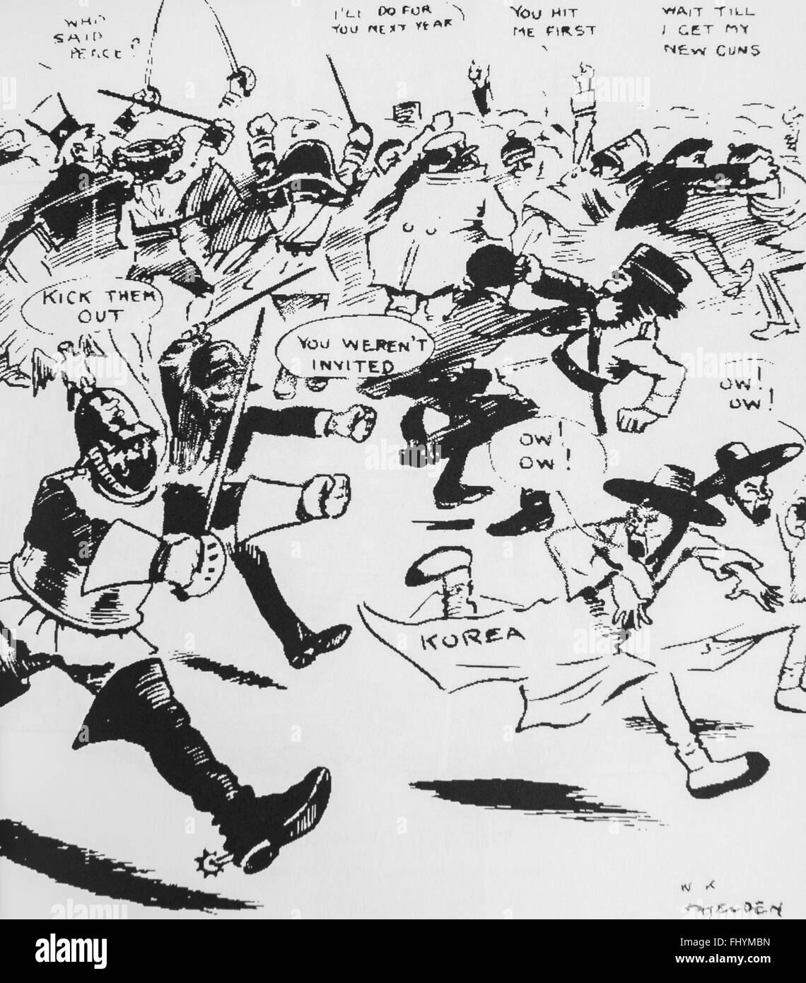 Caricature of Russo-Japanese War . - Stock Image